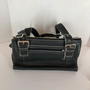 Fossil Black Pebble Leather 2 Strap Shoulder Bag